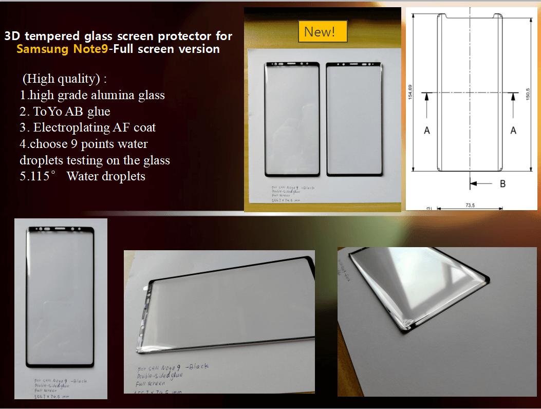 Вариант №1 защитного стекла для Galaxy Note 9 с размерами