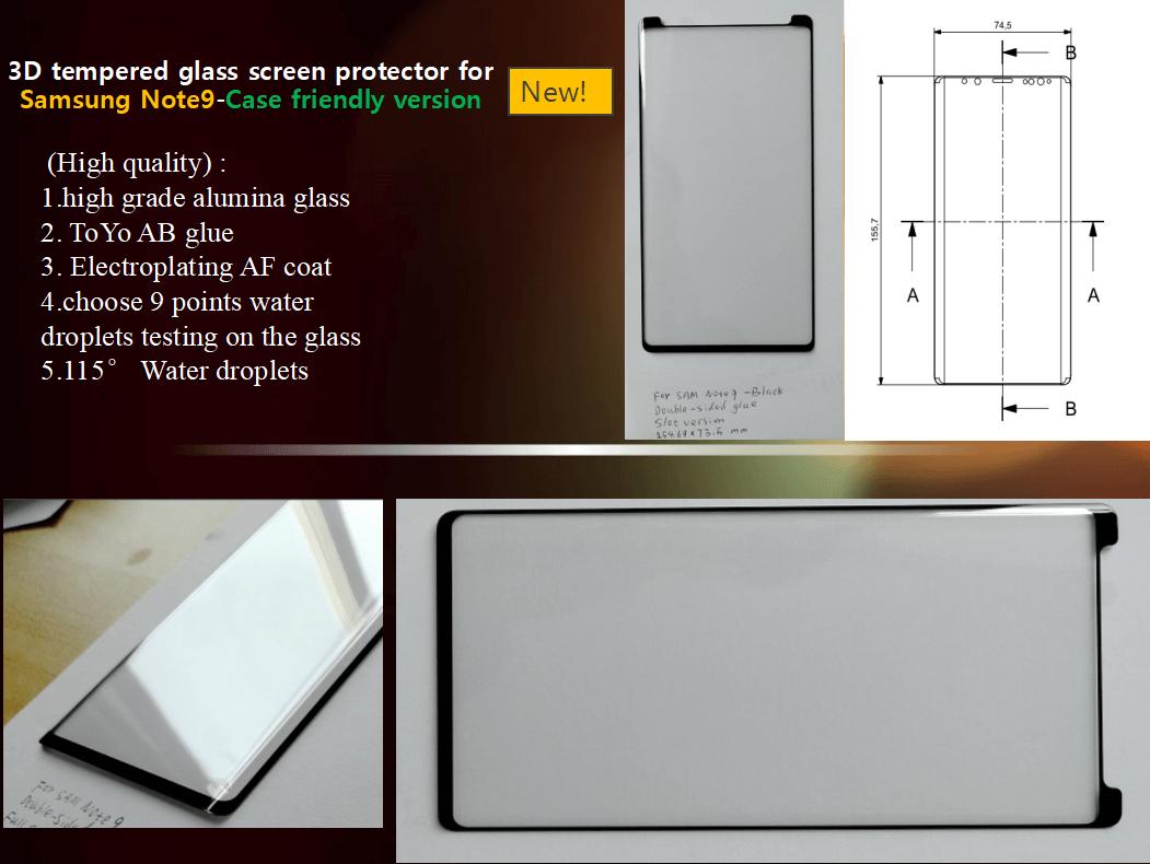Вариант №2 защитного стекла для Galaxy Note 9 с размерами