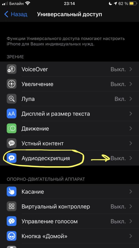Утилита Аудиодескрипция позволяет давать голосовое объяснения происходящему на дисплее