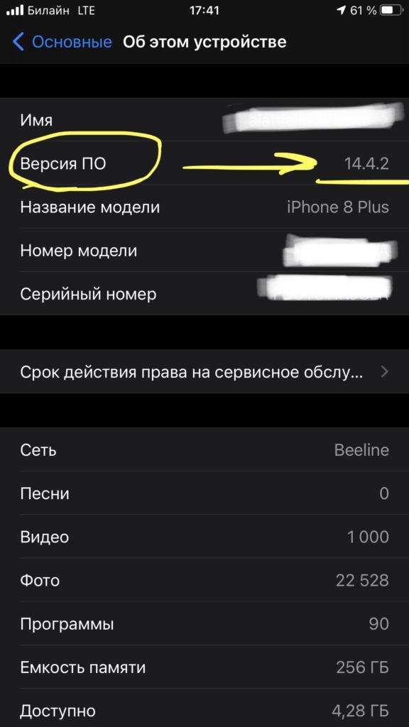 Проверяем информацию о версии iOS в одноимённой графе в списке данных об устройстве