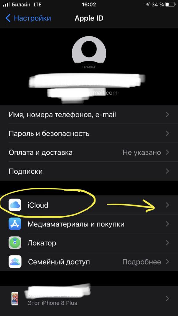 Выбираем раздел «iCloud» и нажимаем на него, чтобы узнать, сколько места в хранилище свободно